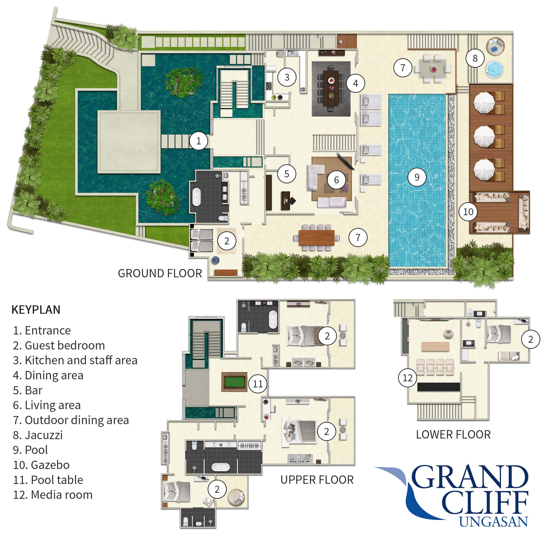 Grand Cliff Ungasan Floorplan Elite Havens Luxury Villa Rentals