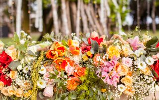 bright wedding flowers in Bali